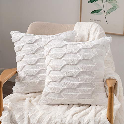 MIULEE 2er Set Wolle Kissenbezüge Dekokissen Polyster Sofakissen Trapezoidal Weich Couchkissen Kissenbezug Zierkissenbezug mit Verstecktem Reißverschluss für Wohnzimmer Schlafzimmer Weiß 45x45cm