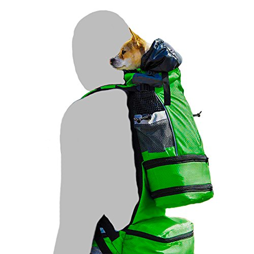 K9 Sport Sack FLEX | Dog Carrier Backpack For Small and Medium Pets| Foward Facing Adjustable Zippers for Size | Veterinarian Approved Safe Pack For Travel (XS-M, GREEN)