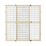 North States MyPet 37' Tall & 48' Wide Wire Mesh Gate: Simply Expand and Lock in Place. Pressure Mount. Fits 29.5'- 48' Wide (37' Tall, Sustainable Hardwood)