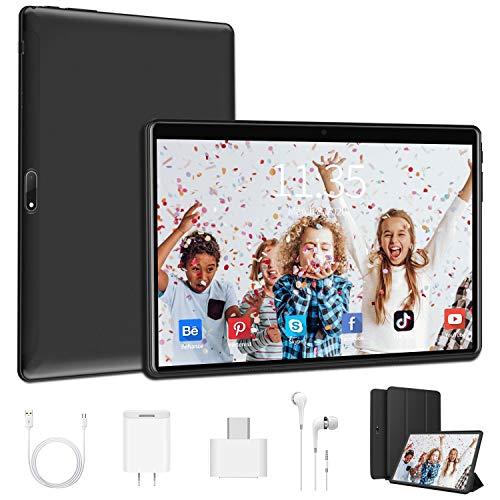 Tableta de 10 pulgadas con 4 GB de RAM, ROM de 64 GB, Tablet PC Android 9.0 4G LTE, Resolución de 1920 x 1200, 5.0 MP + 8.0 MP, WiFi   Cuatro núcleos   GPS   OTG   Bluetooth   SIM dual   Type-C, Negro