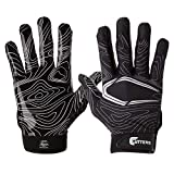 Cutters Football Glove Game Day Receiver. Silicone Grip Glove for Receivers. Adult and Youth Sizes, Black Topography, Youth - Large/x-Large
