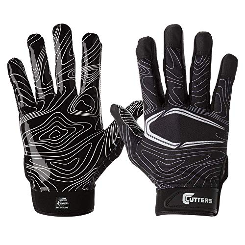 Cutters Game Day Receiver Glvs Blk Topo Adult L/XL