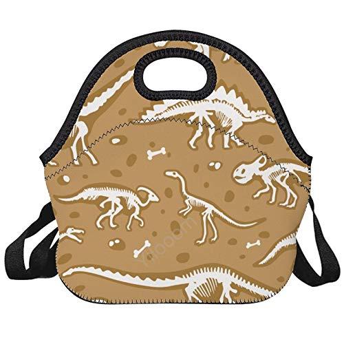 Bolsa de almuerzo reutilizable con aislamiento de neopreno, para mujeres, hombres y niños, dinosaurio antiguo