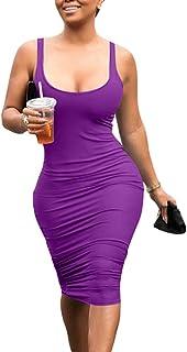 Mokoru Women`s Casual Basic Pencil Tank Dress Sexy Sleeveless Bodycon Midi Club Dress