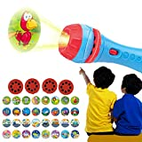Child Slide Projector Flashlight with Image Reels Fun Bedtime Learning Toys Light Me to The World Flashlight for Kids (Blue)