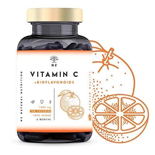VITAMINE C 1000 mg DOSE ÉLEVÉE + Bioflavonoïdes - Vegan Puissant Vitamin C Pure - Antioxydant, Réduit la Fatigue, Renforcement les Défenses - Acide Ascorbique 180 Capsules N2 Natural Nutrition