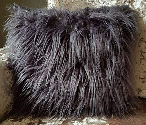 large cushion cover or cushions long Shaggy faux fur cushions 21x21' or 17x17' (Grey, 21' X 21' FILLED cushion)