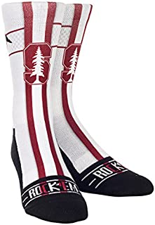 Rock'em Apparel NCAA Stanford Cardinal Custom Athletic Crew Socks, Youth, Jersey Series White