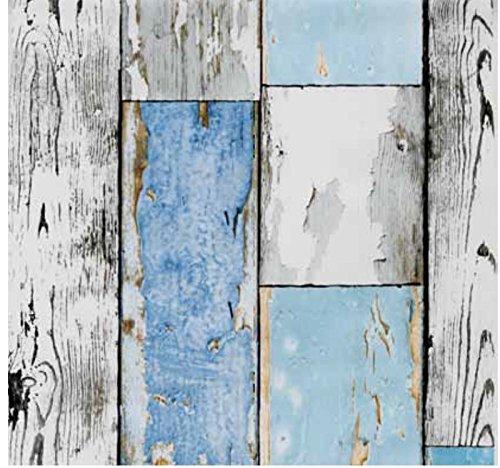 Klebefolie Holzdekor- Möbelfolie Holz Scrapwood blau - 90 cm x 200 cm Dekorfolie Selbstklebefolie