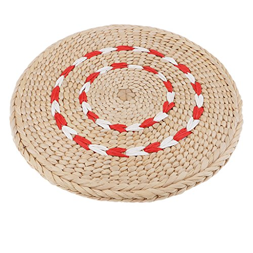 P Prettyia Cuscino in paglia di vimini con imbottitura in cotone di seta per il pavimento, sedia da ufficio Estilo 6 23 cm