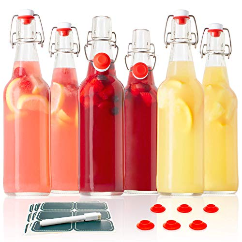 Classic Swing Top Glass Bottles with Lids - Set of 6, 16oz