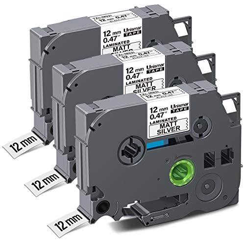 """Unismar Compatible for Brother TZe-M931 Laminated Label Tape for PT-D200 PT-D210 PT-D600 PT-D400 PT-H100 PT-H110 PT-1290 PT-1280 Label Maker, 1/2"""" x 26.2', Black on Matte Sliver, 3-Pack"""