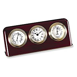 Jewelry Adviser Gifts Mahogany Finish Desk Top Weather Station Clock