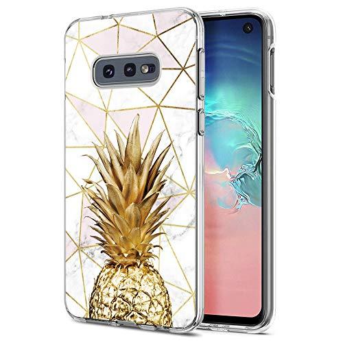 ZhuoFan Samsung Galaxy S10e Hülle, Schutzhülle Silikon Transparent mit Marmor Muster Motiv Handyhülle Stoßfest Weich TPU Bumper Case Backcover für Samsung Galaxy S10e 5,8, Ananas