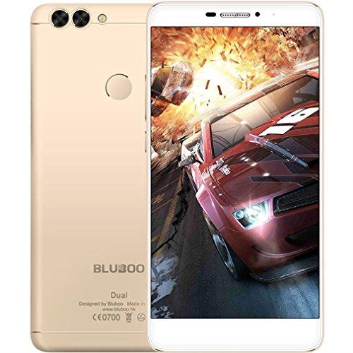 Bluboo Dual Smartphone Hintere Dual Kameras 2.0MP + 13.0MP 5.5 Zoll FHD Quad Core 16GB - Fingerabdruck Sensor - Handschuh Modus - Nass Hand Betrieb - Gold