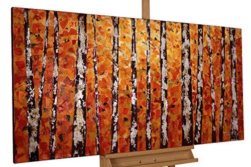 KunstLoft® Acryl Gemälde 'Herbstgold im Birkenwald' 140x70cm handgemalt Leinwand Bild