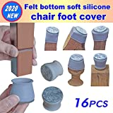 2020 New Chair Leg Covers, Felt Bottom Soft Silicone Furniture Foot Protector Pads, 16 Pcs Free Moving Table Leg Covers, Stool Leg Protectors Caps to Prevent Floor Scratches and Reduce Noise, Grey.