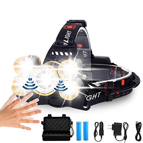 Lampe Frontale Nouveau capteur LED Phare 5*T6 High Power Lanterne Tête Lampe LED Phare LED Lampe de Poche Phare Rechargeable 18650 Lampe Frontale PackageA