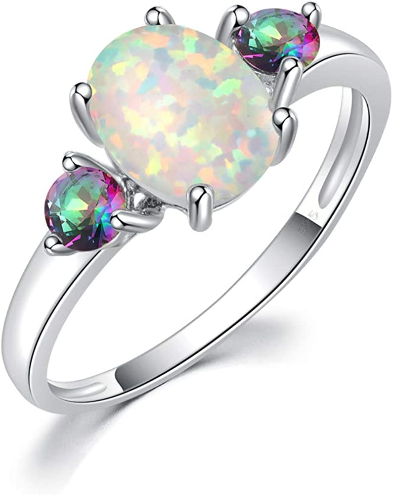 CiNily Fire Opal Promise Rings for her Women Jewelry Rhodium Plated Gemstone Ring Size 5-13