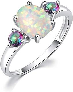 خواتم وعد سييلي فاير أوبال للنساء مجوهرات مطلية بالروديوم والأحجار الكريمة خاتم الحجم 5-13