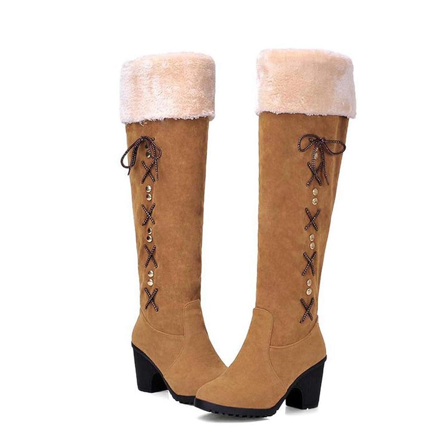 開始小康マッシュ[モリケイ] ロングブーツ ブーツ レディース チャンキーヒール 大きいサイズ 22.0cm~26.5cm リボン スエード ボア付き 温かい 可愛い オシャレ フェミニン 安定 滑り止め クリスマス 秋冬 コスプレ