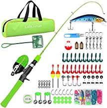 LadyRosian Fishing Rod Set for Kids - Fishing Pole Beginner's Guide - Fishing Rod and Reel Combo with Tackle Box, Fishing Net, Travel Bag -Portable Telescopic Fishing Rod for Kids, Girls, Boys (Green)