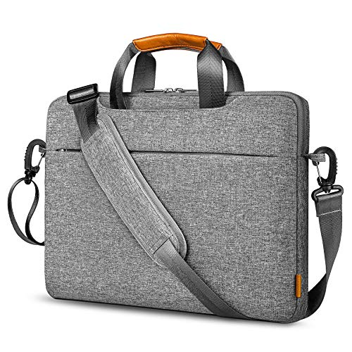 Inateck 360° Protection 15.6 Inch Laptop Sleeve Shoulder Bag Compatible with Chromebook Notebook 15.6 Inch, XPS 17, Water Repellent Bussiness Carrying Handbag Laptop Sleeve Women Men - Grey