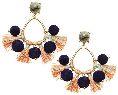 Happiness Boutique Damas Pendientes de Borla en Azul y Naranja   Pendientes Llamativos con Pompones Multicolores Libres de Níquel
