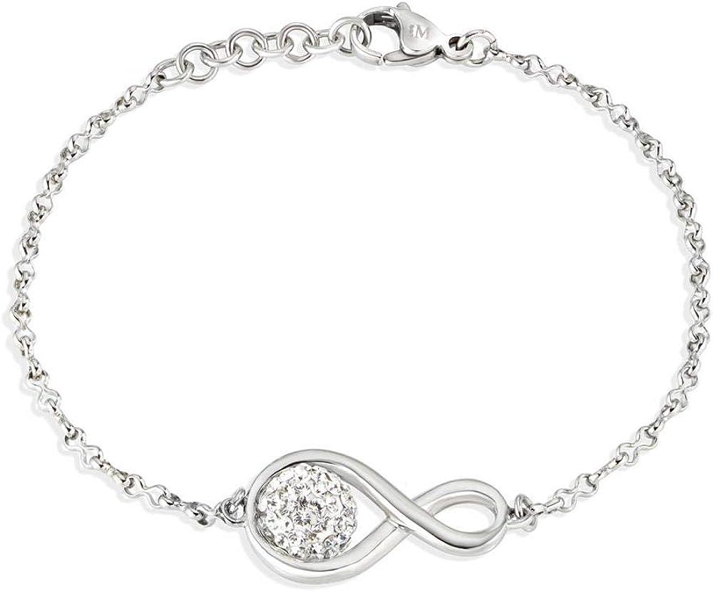 Morellato ,bracciale da donna, collezione luminosa, in acciaio e cristalli SAET07