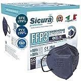 50 Mascherine FFP3 Certificate CE BLU elastici Neri Made in Italy logo SICURA impresso PFE ≥99%   BFE ≥99% Mascherina ffp3 SANIFICATA e sigillata singolarmente Pluri certificata ISO 13485 e 9001