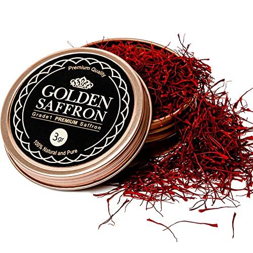 Golden Saffron, Finest Pure Premium All Red Saffron Threads, Grade A+ Super Negin, Non-GMO Verified. For Tea, Paella, Rice, Desserts, Golden Milk and Risotto (3 Grams)