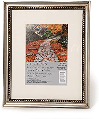 Darice 44148S-8057 Beaded Wood Reflections Frame, 8 by 10-Inch, Silver