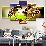 Decoración para el hogar Pintura en lienzo Impresiones en HD 5 piezas Animal Bird Wall Art Sala de estar Imágenes modulares Póster de arte Sin marco-40x60_40x80_40x100cm