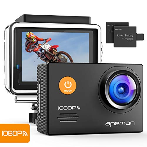 Apeman A70 - Cámara Deportiva (Full HD 1080P, WiFi, 14 MP) Color Negro