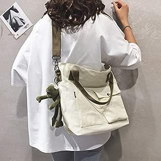 Fashion Single-Shoulder Bags Canvas Single Shoulder Bag Handbag Messenger Bag with Frog Doll Pendant (Color : White, Size : OneSize)