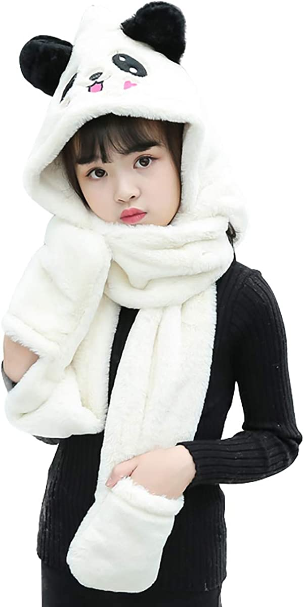 Queenbox 3D Rabbit Ear Girl Winter 3 in 1 Hat Scarf Gloves Set 74in Neckerchief