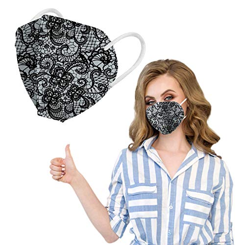 50pcs, 5-LayersDisposable Face_Masks for Women, Lace Printed Breathable_Mask with High Non-Woven for Adults Protection, 0123-036
