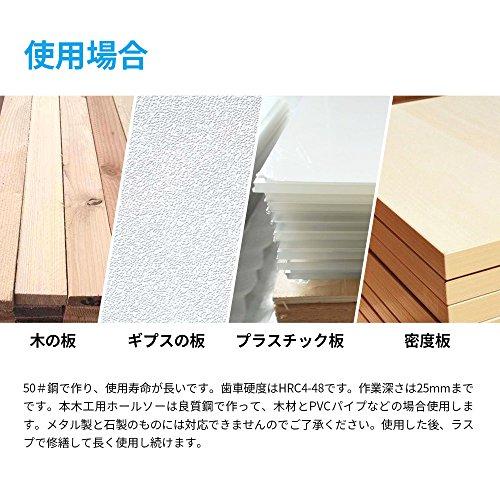 VGEBY木工用ホールソードリル工具12枚刃(19~127mm)付き固定プレー付きドリルビット付き2pcsアーバー(大10mm・小6mm)付き穴あけ工具切削穴あけ収納ケース付き木工用木の板/ギプスの板/プラスチック板/密度板に対応