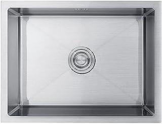 FANGFHOME évier Évier de Cuisine épaissi, Grand réservoir Simple en Acier Inoxydable, évier de Vaisselle Domestique, évier...