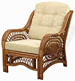 Malibu Lounge Living Accent Armchair Natural Rattan Wicker Handmade Design with Cream Cushion, Colonial