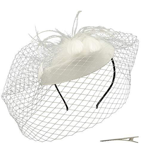 Umeepar Damen Pillbox Fascinator Hut Hochzeit Tea Party Hüte mit Federn Schleier Stirnband Clip (Weiß)