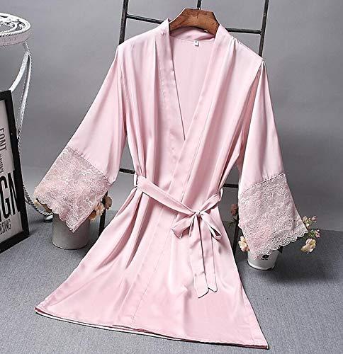 Brautjungfer Roben Satin Robe Braut Elegante Nachtwäsche Sexy Spitze Frauen Bademantel Bademantel Kimono Seide Bademantel Schlaf Lounge-Pink-M