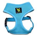 Classic Dog Harness Innovative Mesh No Pull No Choke Design Soft Double Padded Breathable Vest for Eco-Friendly Easy Control Walking Quick Release for Puppies Toy Breeds & Medium Dogs (Med, Blue)