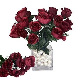BalsaCircle 84 Burgundy Silk Rose Buds – 12 Bushes – Artificial Flowers Wedding Party Centerpieces Arrangements Bouquets Supplies