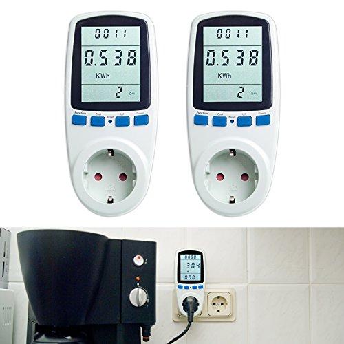 Asigo 2er Set Energiekosten-Messgerät Premium, Stromtarif frei einstellbar, Stromverbrauch, Energiekostenmessgerät, Stromverbrauchszähler I Deutscher Hersteller