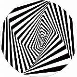 ACKW 3D Tapis Illusion Antidérapant Tapis 3D Vortex Optiques Tapis De Sol Noir Et Blanc en Treillis Rond Tapis pour Salon Décoration D'intérieur-Noir et Blanc b 200cm