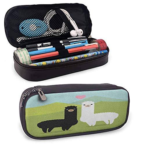 Lama Retro Leder Bleistiftbeutel Alpakas in den Bergen Argentinien Fauna Tiere mit Kontrastfarben für Kinder, Jugendliche, Jungen, Mädchen oder Erwachsene für Männer, Frauen