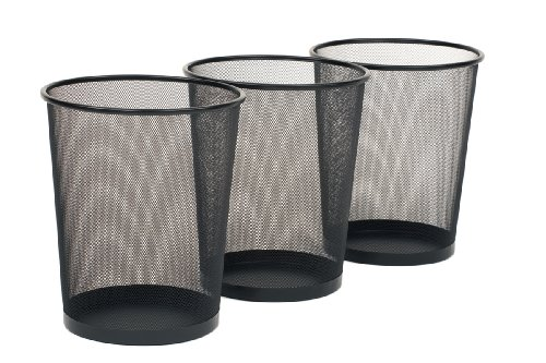 Seville Classics 3Pack Round Mesh Wastebasket Recycling Bin 6 Gal 12quot Diameter Top x 14quot H Black