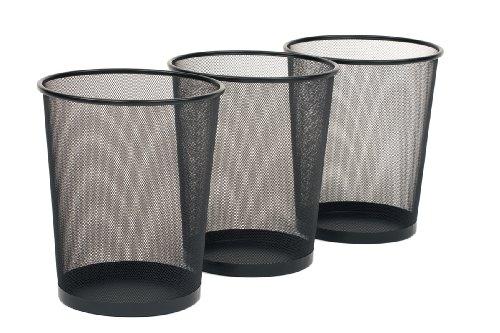 Seville Classics 3-Pack Round Mesh Wastebasket Recycling Bin, 6 Gal, 12' Diameter Top x 14' H, Black