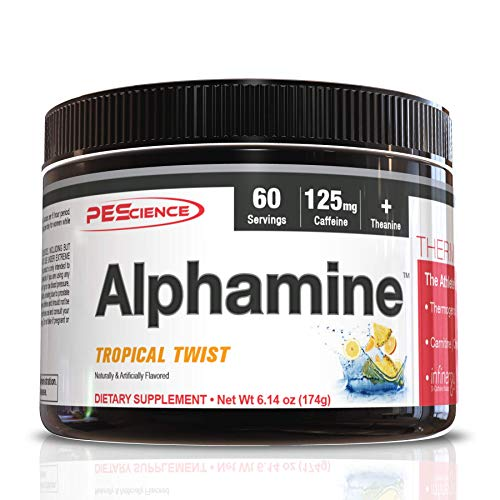 PEScience Alphamine, Tropical Twist, 60 Scoops, Thermogenic Energy Powder with L-Carnitine